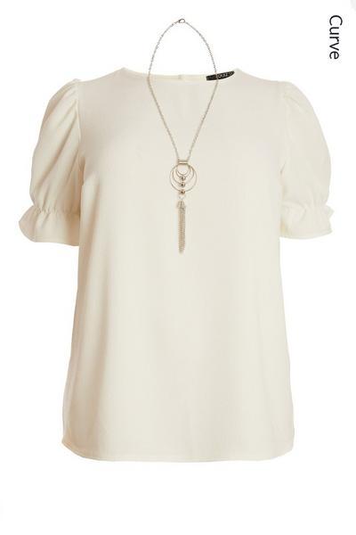 Curve Cream Necklace Top